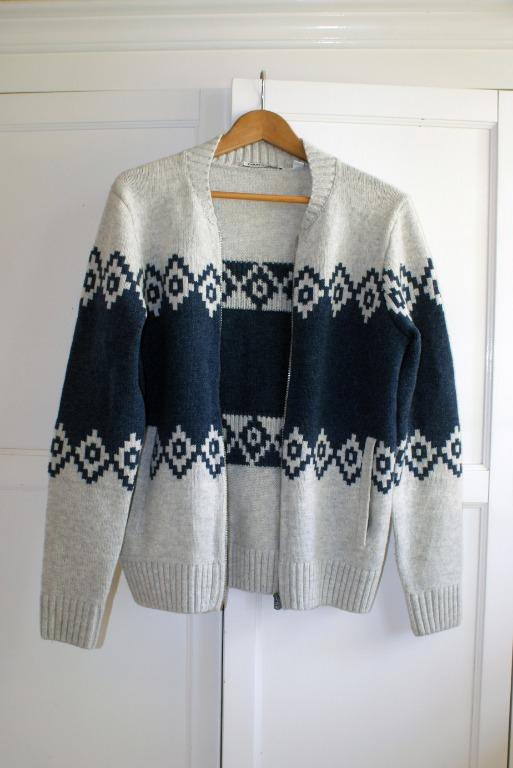 Country Road Fair Isle Wool Zip Through Knit Extra Small XS