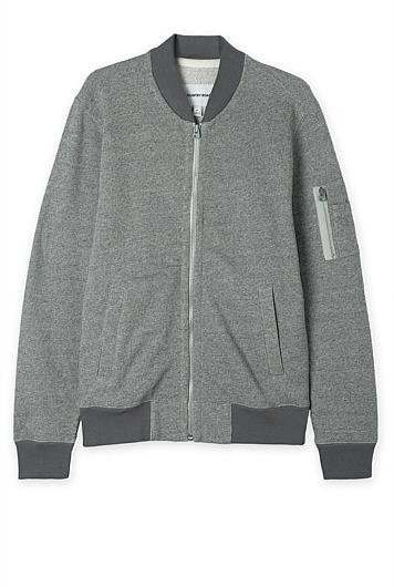 COUNTRY ROAD Military Sweat Bomber Jacket | Small S | Grey