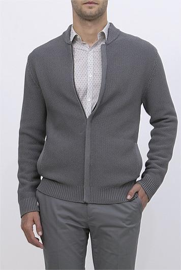 COUNTRY ROAD Textured Knit Bomber Jacket | Small S | Grey