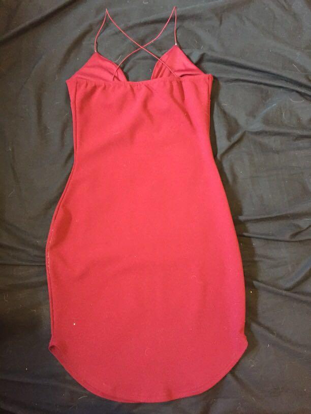 Deep red boohoo dress