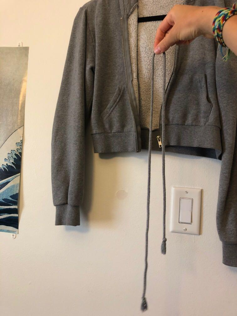 Grey cropped Brandy Melville sweater