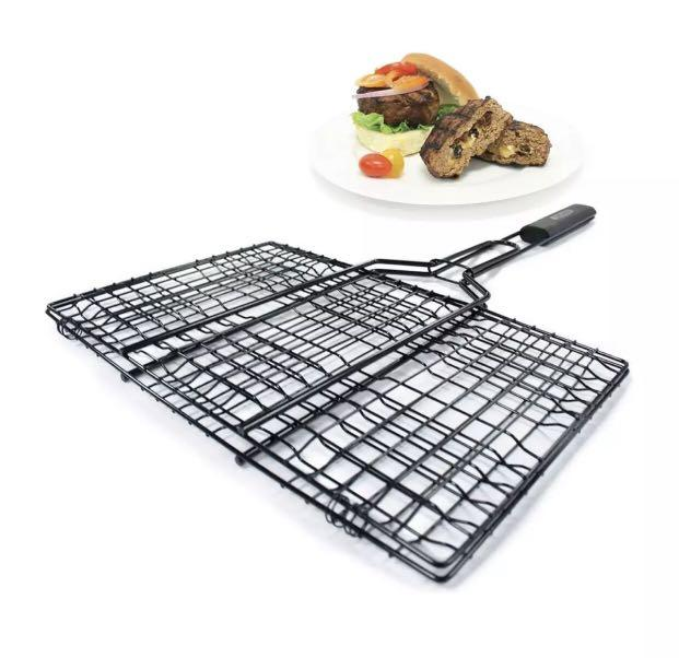 Grill Pro Deluxe Non-Stick 6-Pocket Hamburger Broiler With Detachable Handle - BBQ not weber