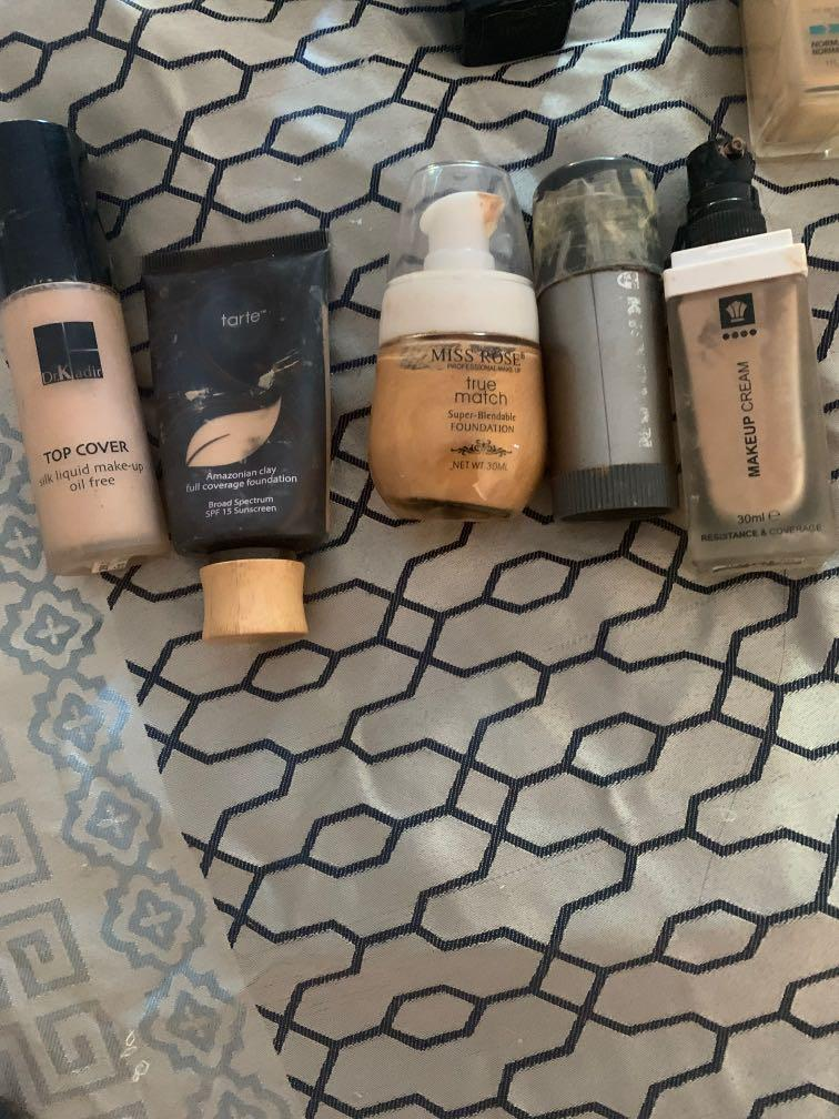 Kryolan ,tarte dermacot And Kat von d foundation and concealers