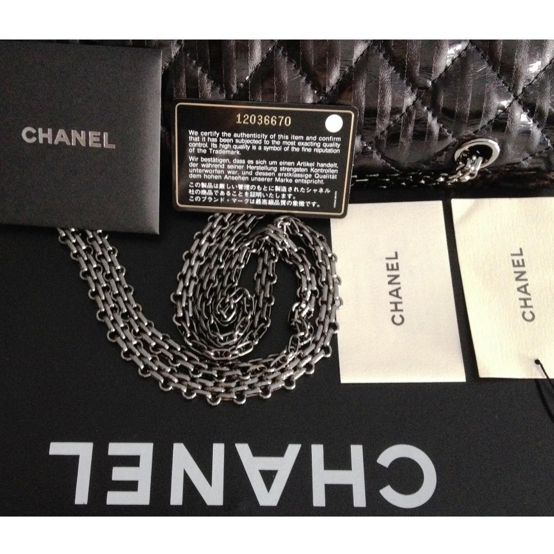 NEW FULL SET CHANEL Limited Edition Black Metallic Calfskin 2.55 227 Jumbo Flap Bag