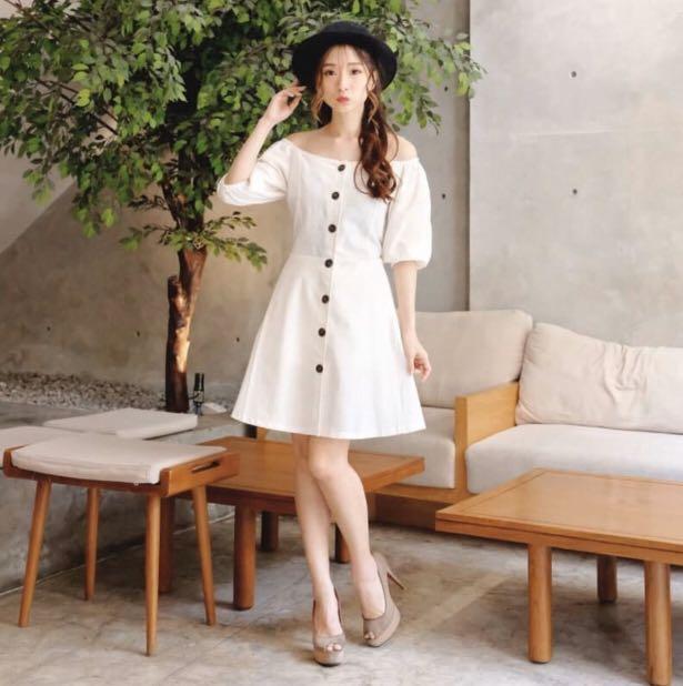 New sabrina white dress