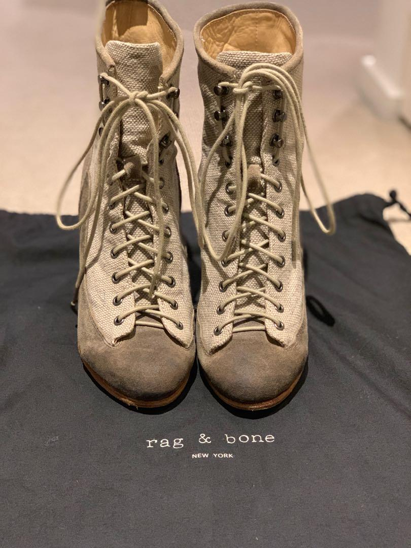 Rag and Bone Miles Lace-Up Suede Boots Size 37 Used Condition