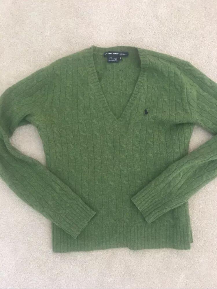 Ralph Lauren khaki green cable knit jumper size S wool