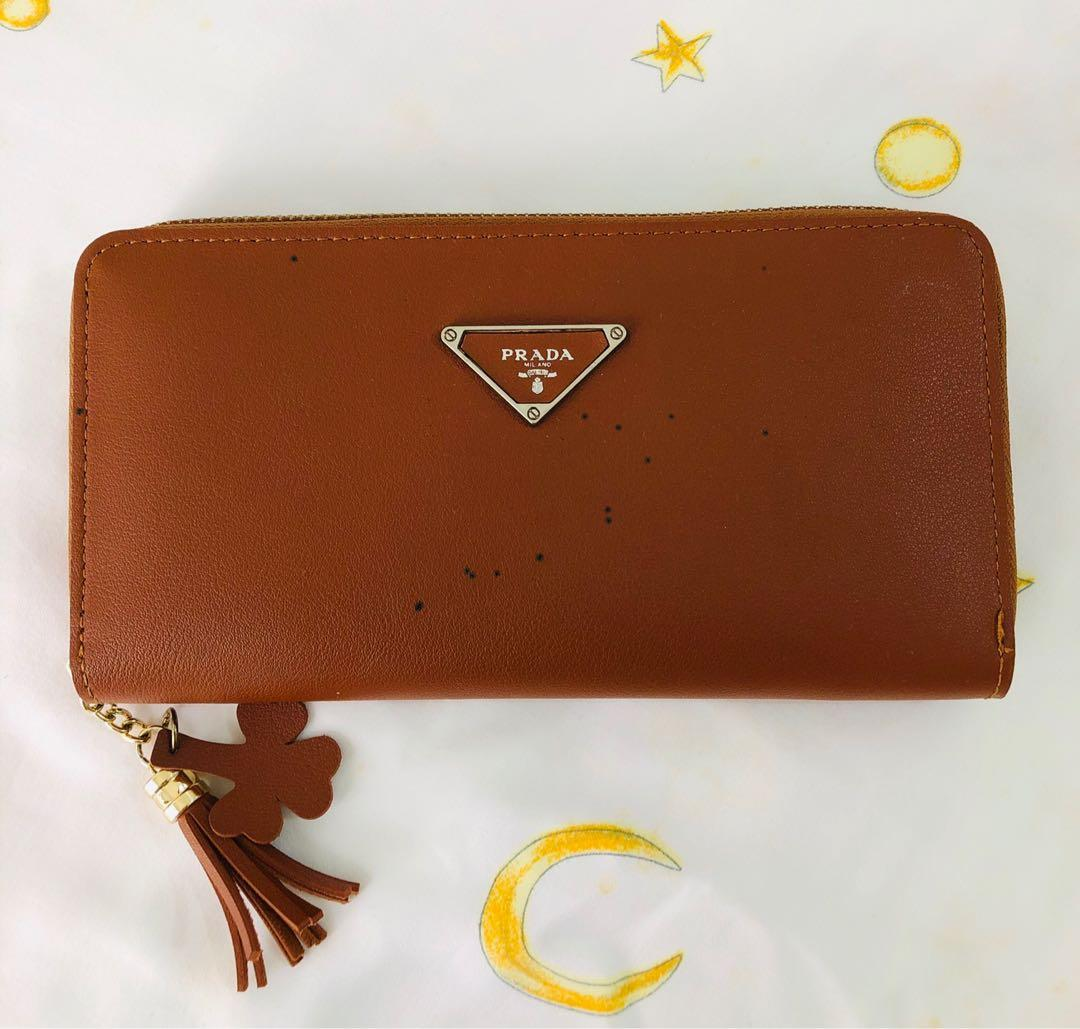 Replica Prada Long brown wallet