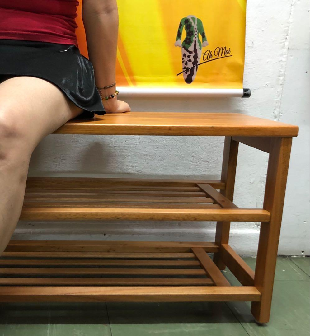 Solid Wood Seated Top Cum Shoe Rack