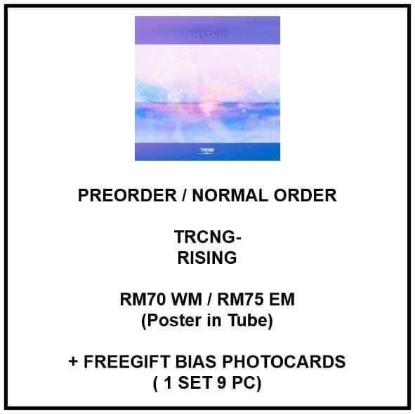 TRCNG - RISING - PREORDER/NORMAL ORDER/GROUP ORDER/GO + FREE GIFT BIAS PHOTOCARDS (1 ALBUM GET 1 SET PC, 1 SET HAS 9 PC)