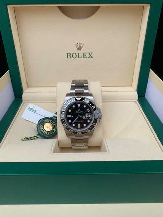 Discontinued & Hot collectible model Brand new & unworn Rolex GMT Master II (GMT BLACK) 40mm Model 116710LN Full set Dated warranty April 2019 International Warranty until 2023
