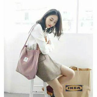 Totebag wanita bahan corduroy/ tas totebag murah Korea style