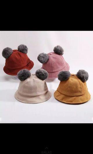 Topi anak korea pom pom