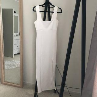 White Square Neck Maxi Dress / Ball Dress