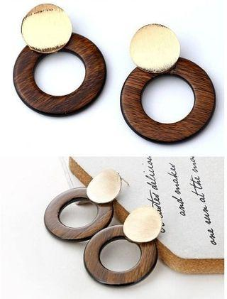 Round Wood Ring Earrings Gold+Brown