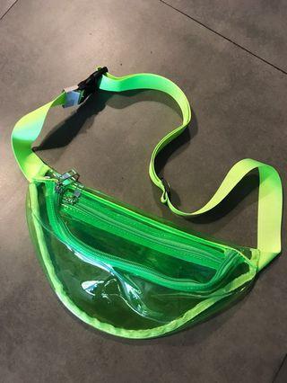 Transparent waist bag neon green