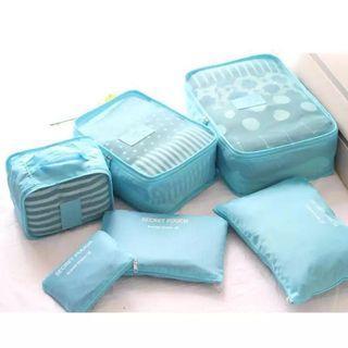 6pcs Travel  Organiser 6 in 1 Luggage Organizer Toiletries Bag Shoe Bag