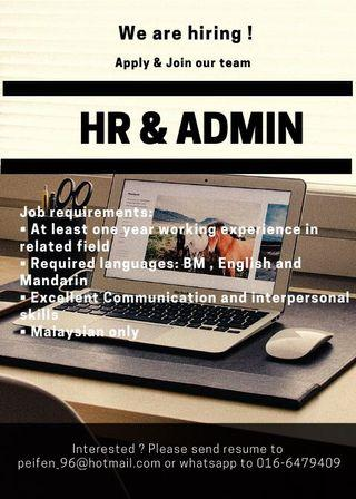Immediate Hiring for HR & Admin
