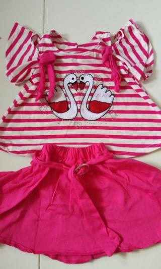 Setelan Dress Anak Lucu Motif Flamingo