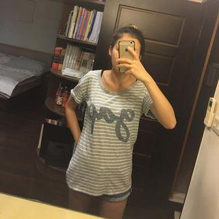 Gap灰色條紋短袖T Shirt