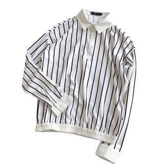 直條紋長袖白襯衫(L)