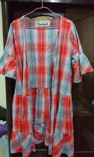 日本購入 橘紅色漸層格紋洋裝式外套