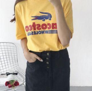 惡搞 T-shirt Costco Lacoste  韓系 復刻風 鱷魚 寬版 翻玩 短T 黃色 F號
