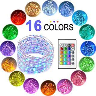5 Meter 50 Led RGB Battery Operated Silver Wire String Light