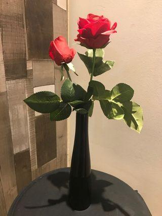Artificial Flower + Black Vase