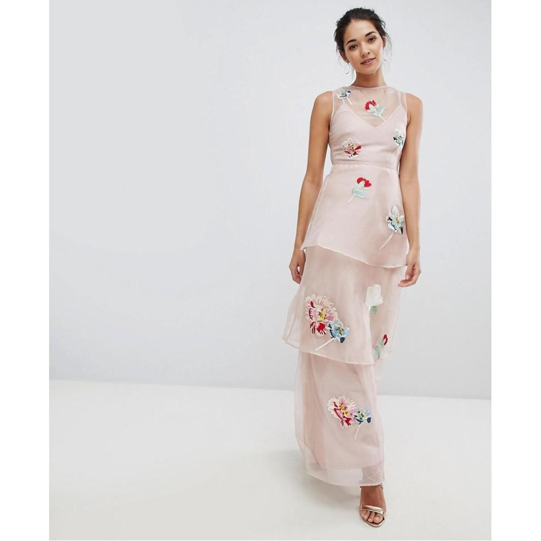 ASOS Hope and Ivy Chiffon Maxi Dress with Floral Embroidery