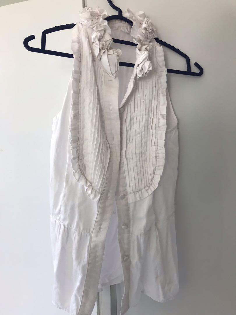 BCBG Maxazria style rosette white top sleeveless office shirt