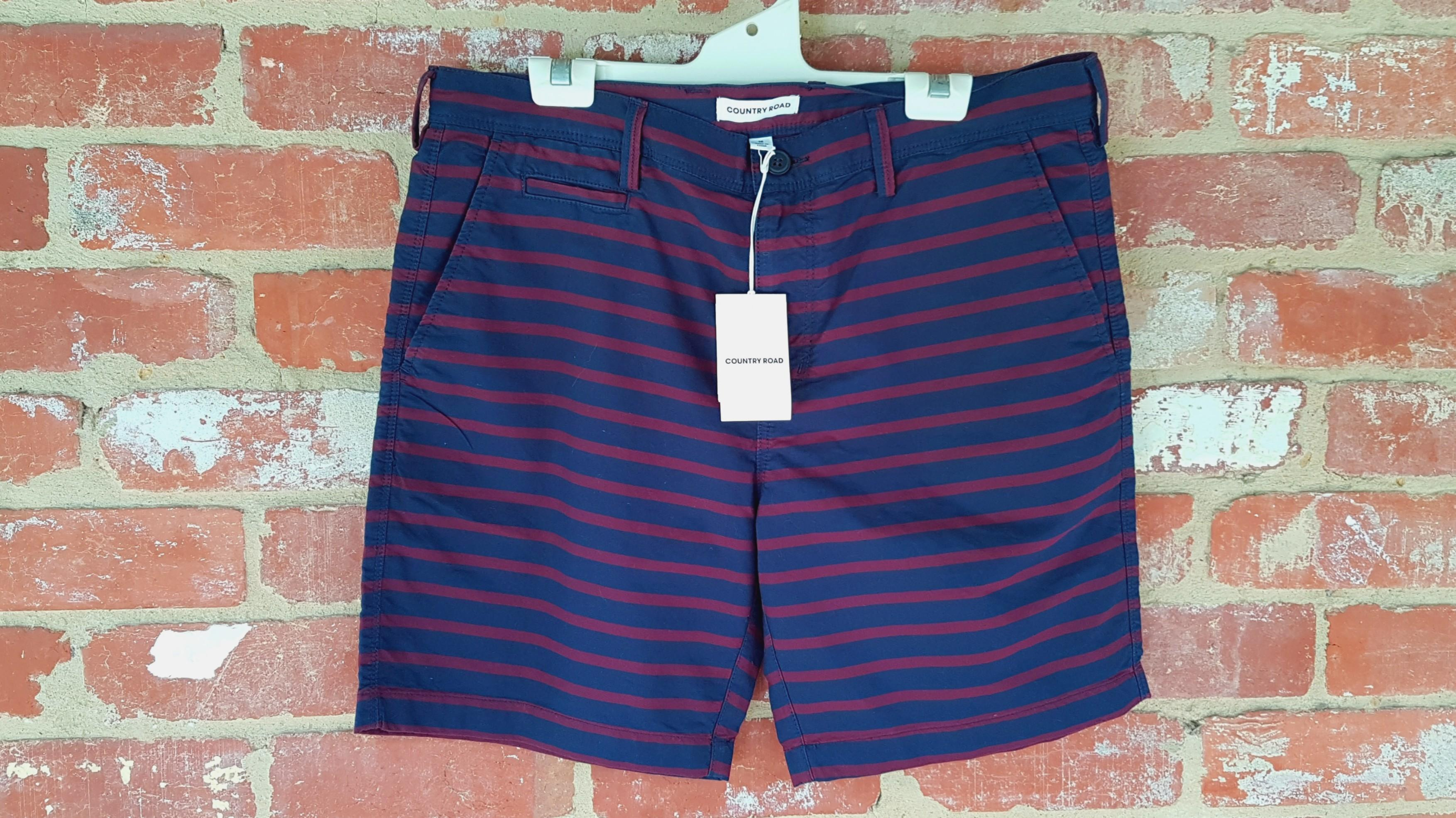 BNWT Country Road Chino Shorts 36 Navy/Burgundy Stripes