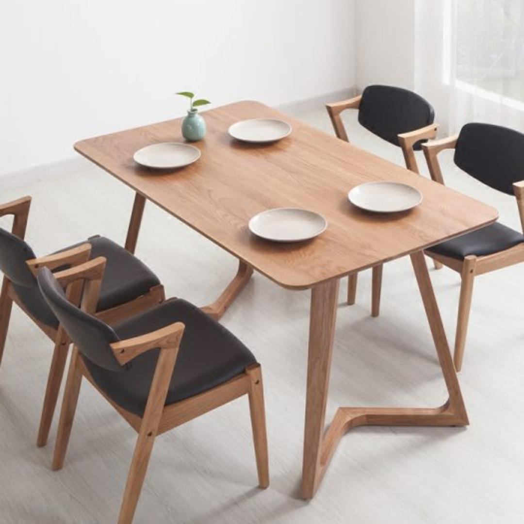 Brand New Rustic Modern Minimalist Dining Table Solid Wood Chairs Not Included Home Furniture Furniture Fixtures Tables Chairs On Carousell