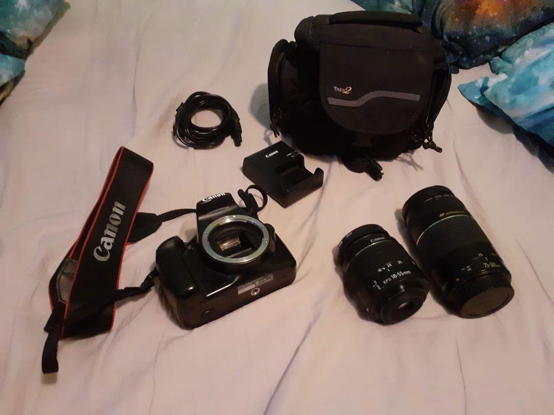 Cannon DSLR EO 1100D Camera w/ tripod, 2 lenses, and accessories