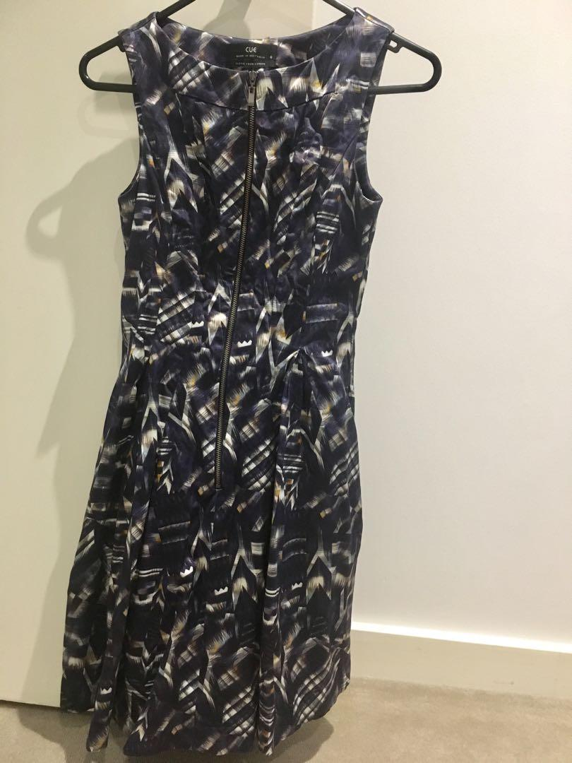 CUE Purple/navy sateen Print Front Zip Flared Tulle Skirt Dress Size 6