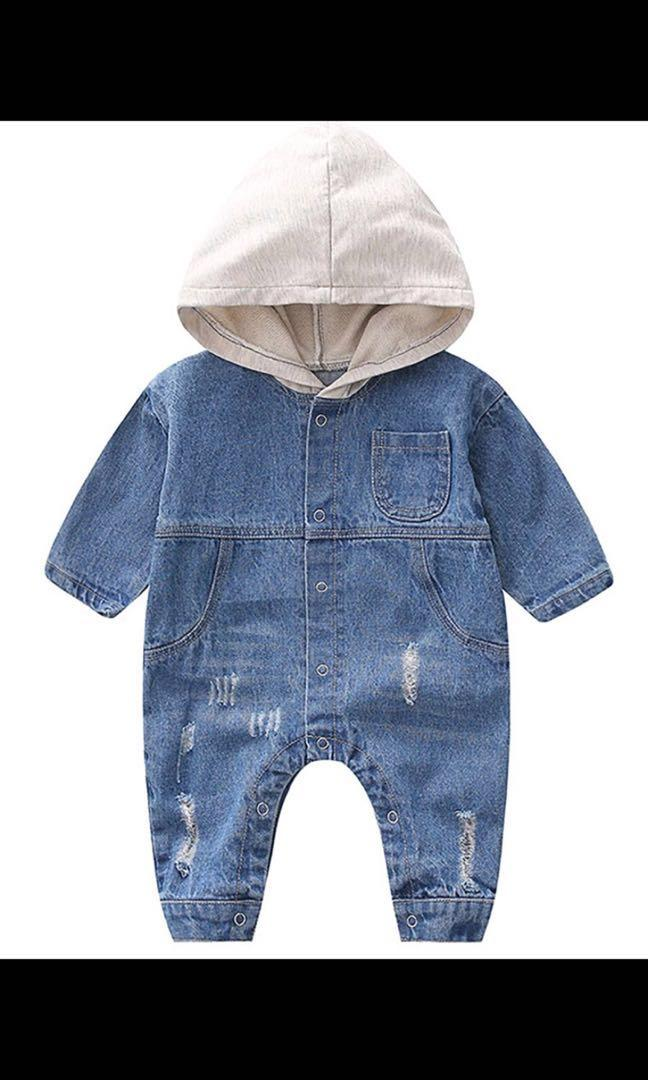 Doll me up kids baby distressed denim hoody romper size 9 to 18 months