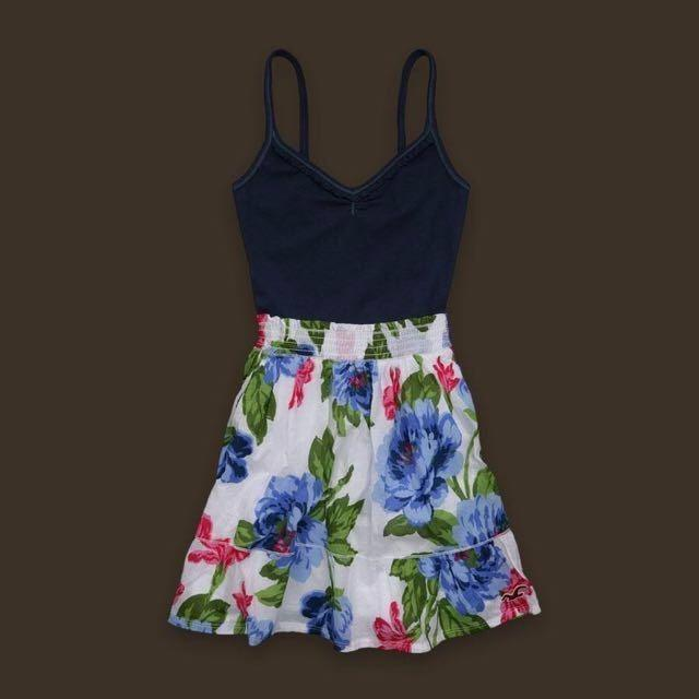 😆FREE SHIPPING* under 500g😆(XS)Hollister Women Classic Cardiff White Navy Ruffle Floral Dress