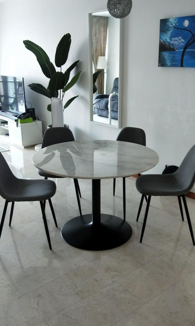 Italian Marble Dining Table Set From