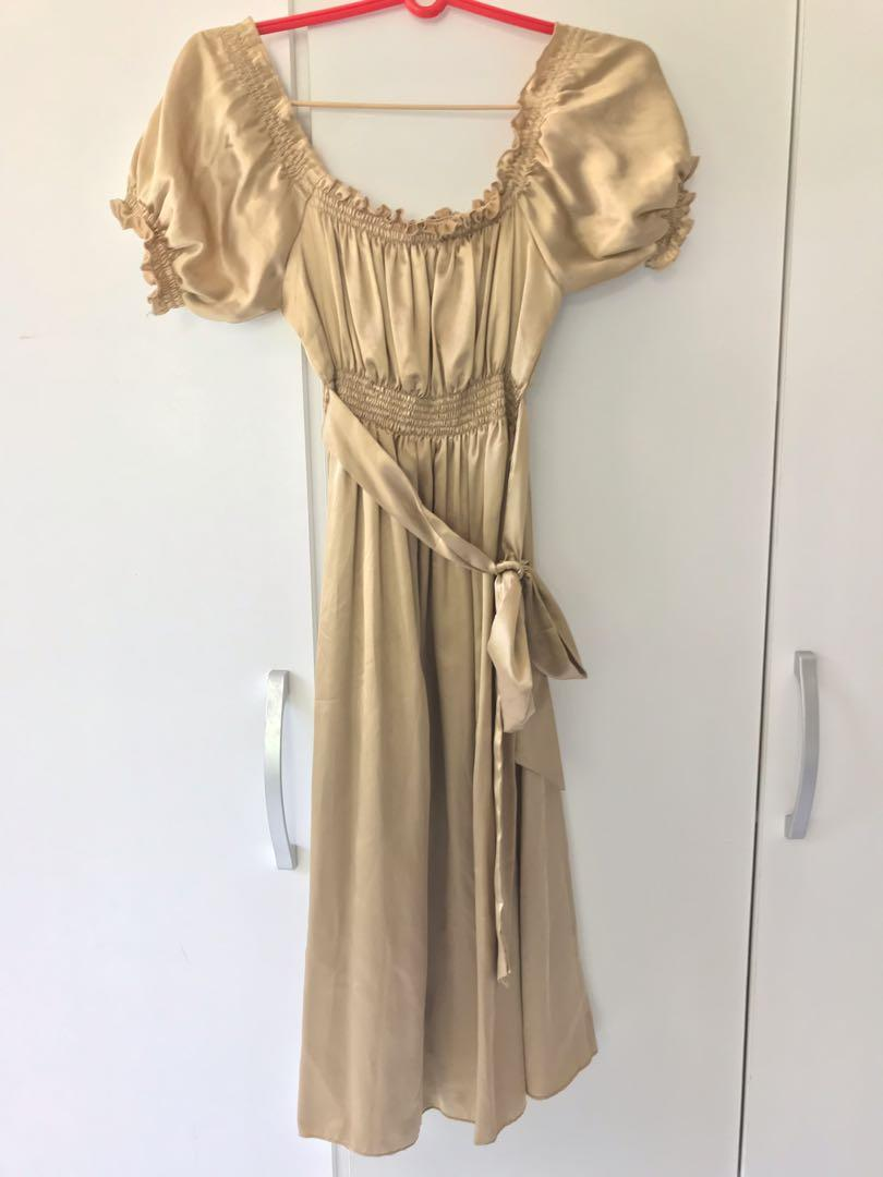 Juliette style Gold Satin off shoulder two way dress