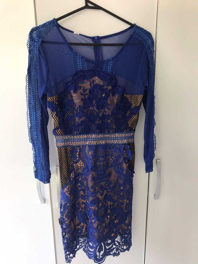 New See through Blue Lace party sexy clubbing dress