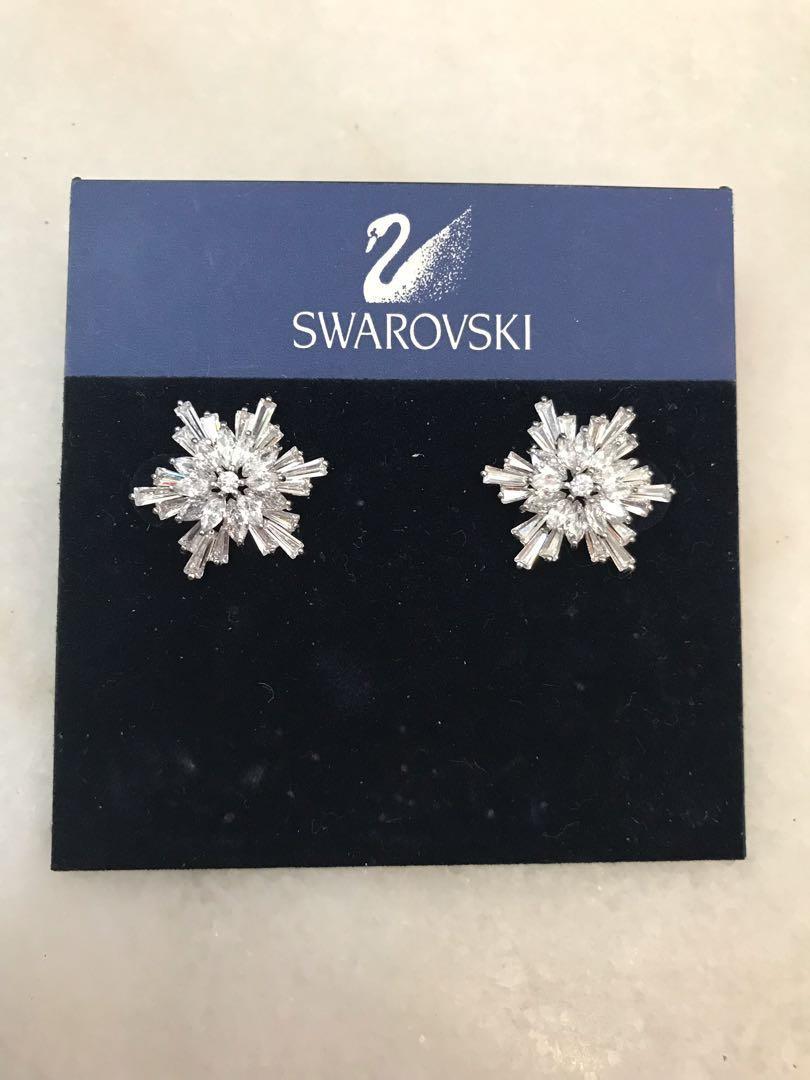 New Swarovski Snowflake star burst earrings and brooch