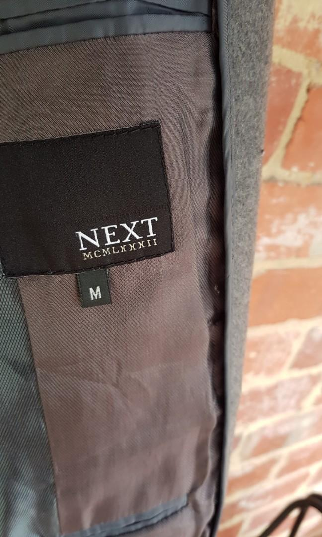 NEXT Grey Cashmere Wool Blend Slim Overcoat M RRP $260