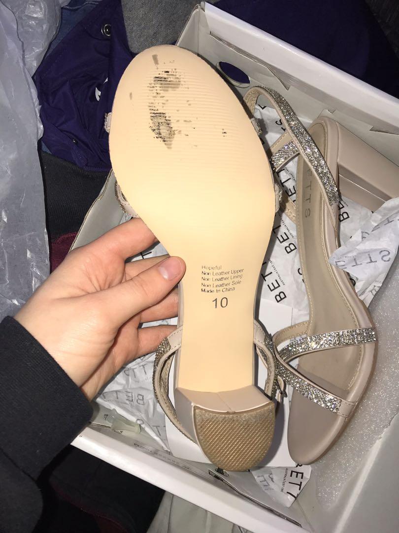 Nude & Silver Hopeful Block Heels, Size 10