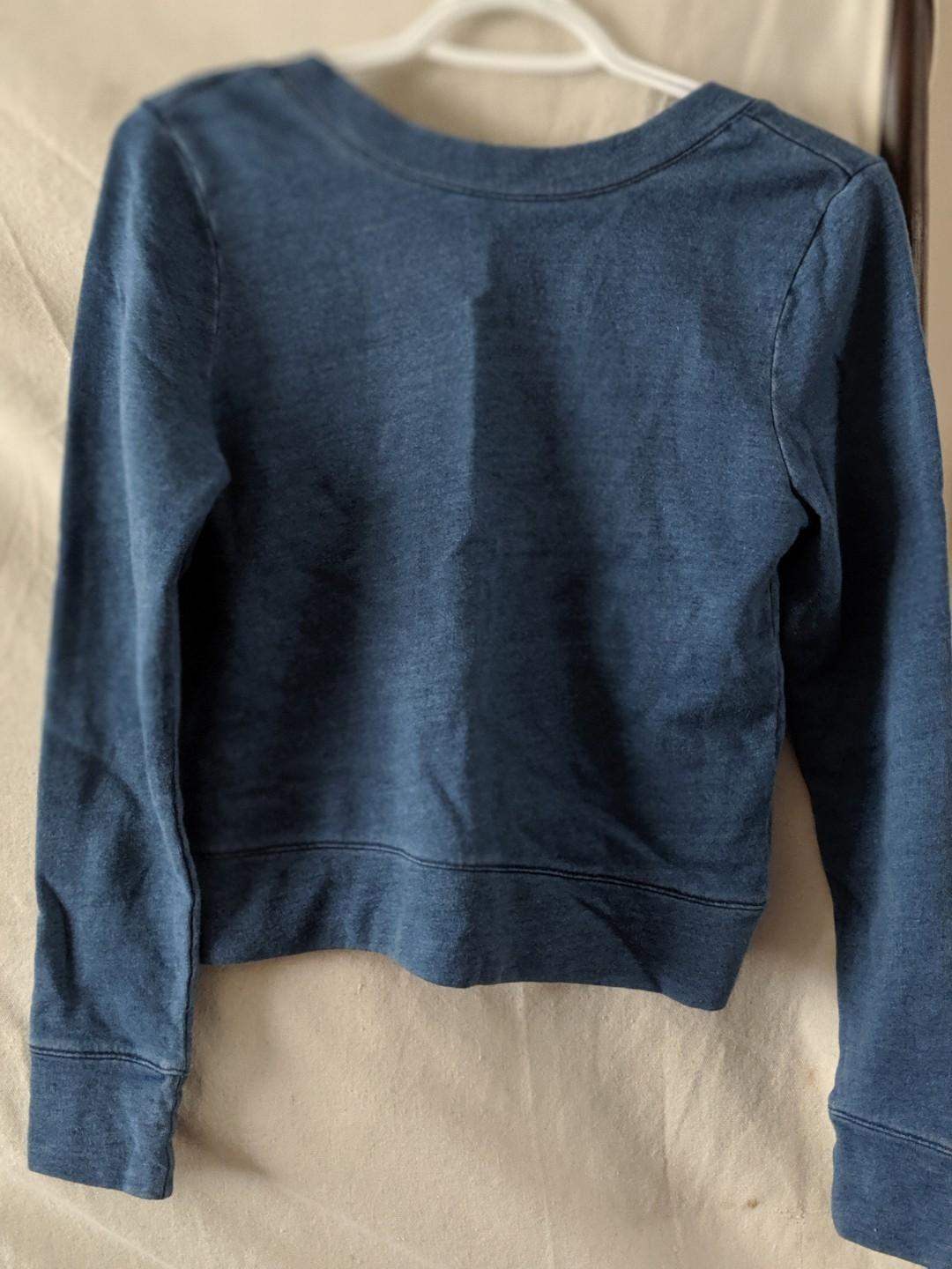 NWT DKNY denim finish cropped sweater (scoop back)