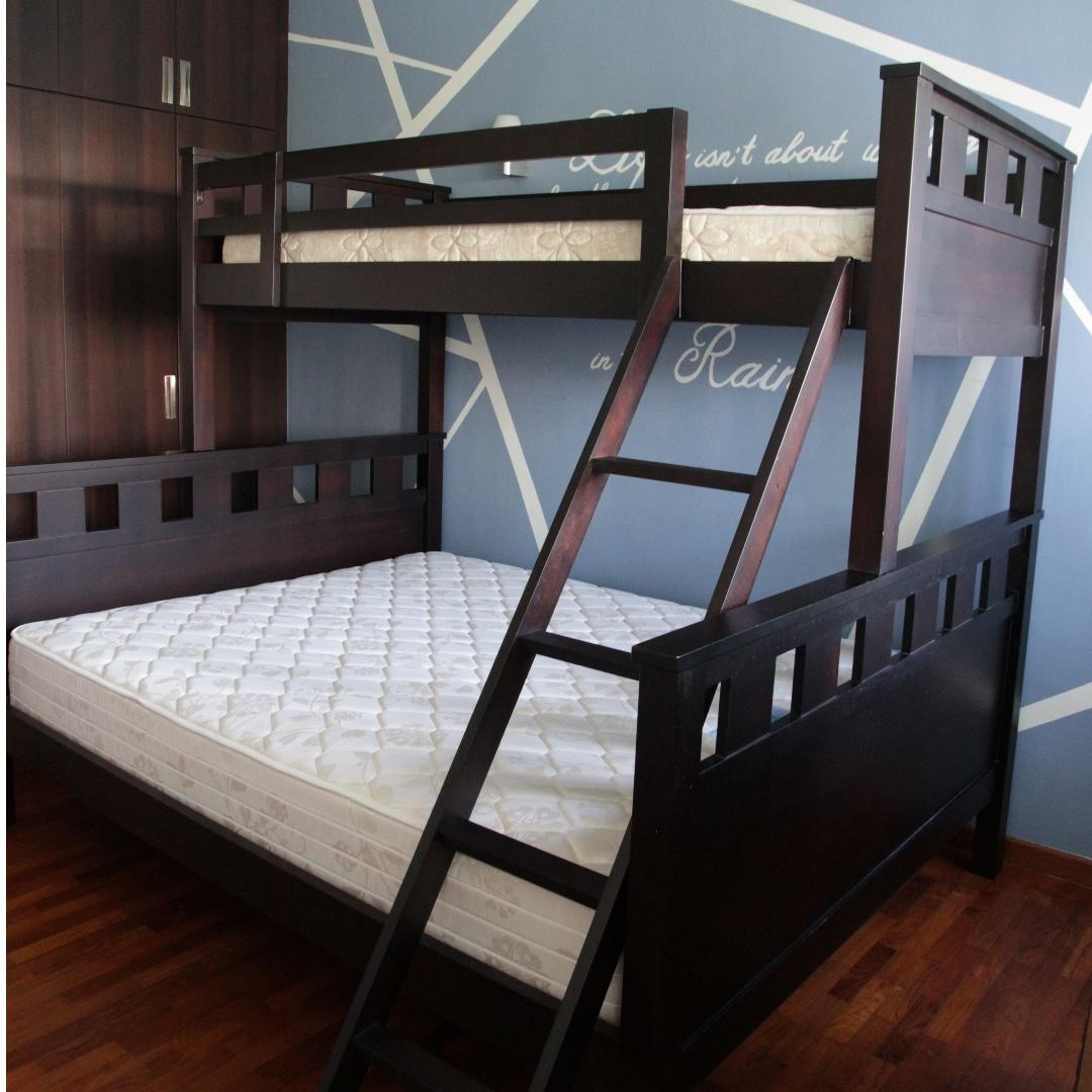 Picture of: Picket Rail Solid Wood Bunk Bed Queen Single Bed Frame Furniture Beds Mattresses On Carousell