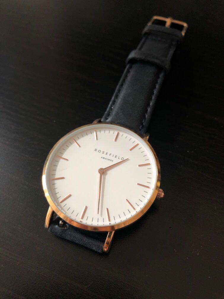 Rosefield White - Black The Bowery Watch 38mm (Pick Up Only)