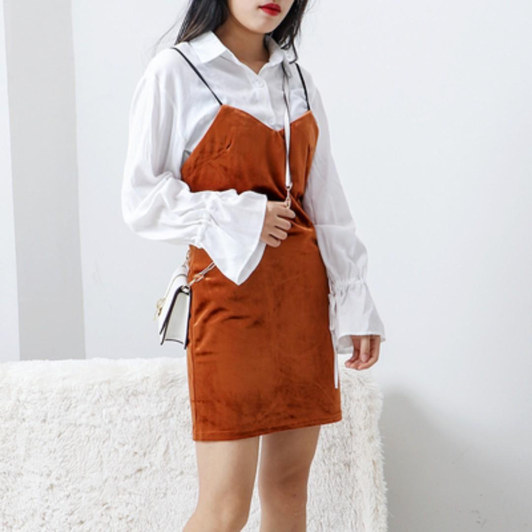 Rust Velvet Dress Overall Women S Fashion Clothes Dresses Skirts On Carousell