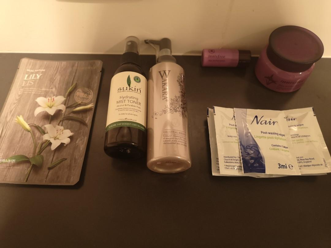 skincare products all new except innisfree - used 3x