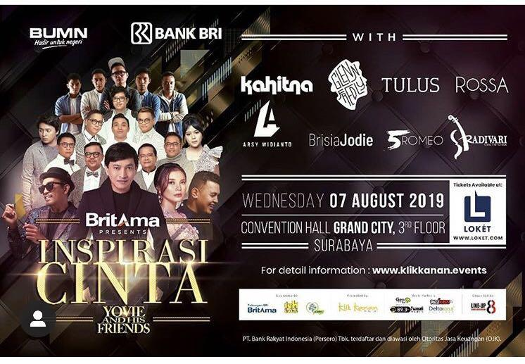 Tiket Inspirasi Cinta Yovie And His Friend Surabaya Tickets