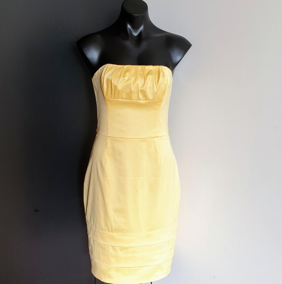 Women's size 10 'REVIEW' Gorgeous yellow strapless dress - AS NEW